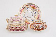 A Derby coffee can and saucer, circa 1800, painted and gilt with urns and foliate scrolls, red paint