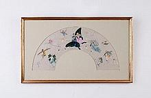 A late 19th Century painted fan paper, A Midsummer Night's Dream, not folded, framed, 30cm x 53cm
