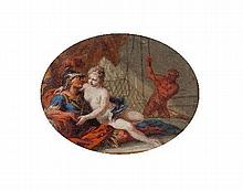 Attributed to Benjamin West/Vulcan Disturbing Mars and Venus/oval watercolour on ivory, 7cm x 9cm/in