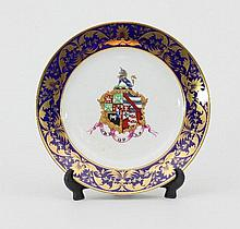 A Derby armorial plate, the fictional coat-of-arms with a unicorn crest, the dark-blue border with g