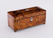 A George III tortoiseshell rectangular tea caddy with silvered stringing, the interior fitted triple