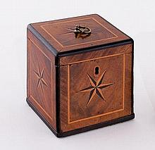 A George II walnut square tea caddy with ring handle to the top and inlaid a five point star to top,