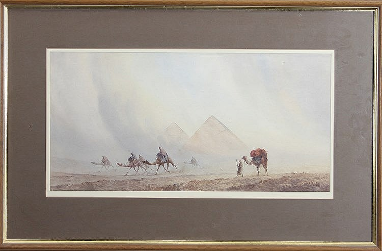 Otto Tilche/Camel Troops before the Pyramids/signed/watercolour, 25cm x 49cm