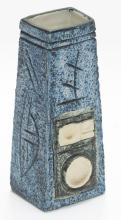 Jane Fitzgerald for Troika/A pottery coffin vase with applied and incised decoration in blues and green, signed to base, 17cm high