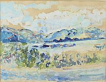 Duncan Grant (British 1885-1978)/Mountain Scene, Scotland/signed and dated 74/watercolour, 27cm x 35cm/Provenance: The Southover Gallery, Lewes