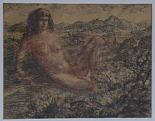 Gerald Ososki/Figure in a Landscape/signed and