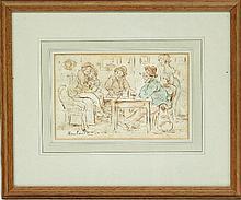 Thomas Rowlandson/Bar Room Scene/signed/wash over