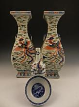 A Grouping of Chinese Dragon Motif Vases & Bowls
