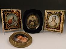 A Grouping of Miniature Antique Portraits
