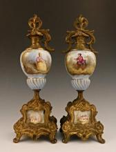 Pair of Sevres French Porcelain Urns