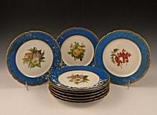 (9) French Sevres Botanical Cabinet Plates