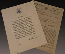 Harry Truman Signed World War Letter