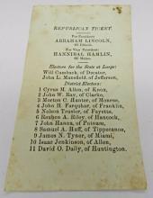 1860 Abraham Lincoln Election Ballot