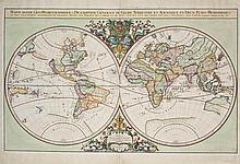 JAILLOT, Alexis Hubert (1632-1712).Mappe-Monde Geo-Hydrographique, ou Description Generale du Globe Terrestre et Aquatique en Deux-Plans Hemispheres. [Amsterdam or Paris:] 1691.