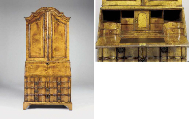 A DUTCH WALNUT BUREAU-CABINET