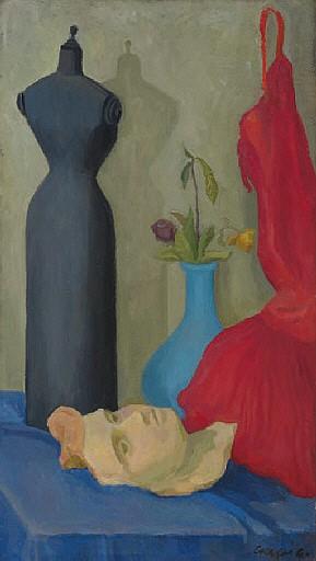 Natura morta con manichino, maschera e abito rosso ( recto ); donna in abito da sera ( verso )