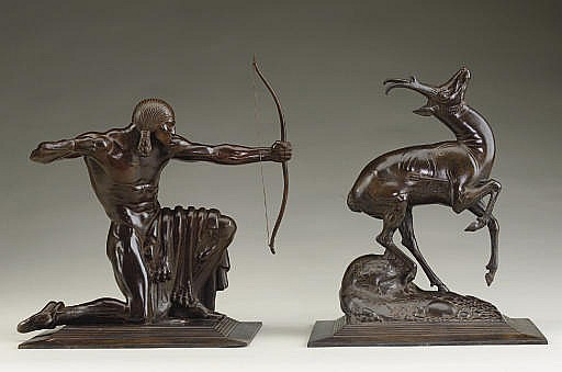'Indian' and 'Pronghorn Antelope': A Pair of Sculptures