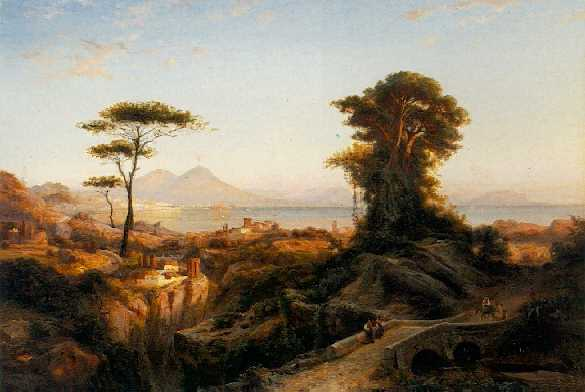 JOHANN HERMANN CARMIENCKE(Footnote 1) (1810-1867) Mt. Vesuvius and the Bay of Naples