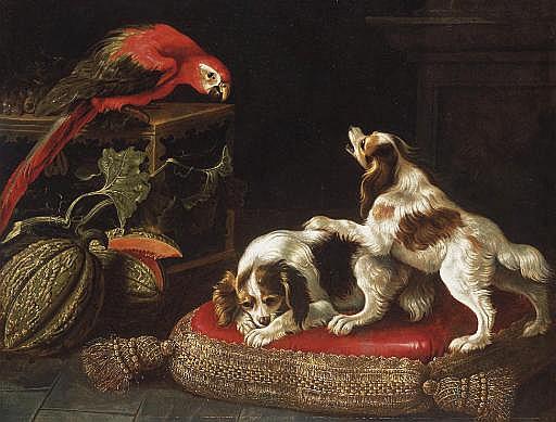 Perroquet affrontant deux épagneuls sur un coussin à passementerie