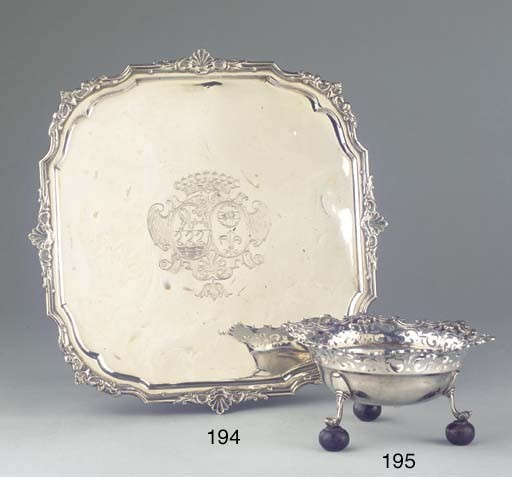 A Dutch silver salver on circular foot
