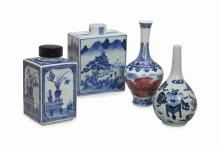 FOUR CHINESE BLUE AND WHITE PORCELAIN VESSELS,