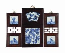 A SET OF FOUR CHINESE BLUE AND WHITE PORCELAIN PLAQUES, FRAMED,