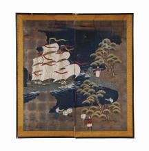 A JAPANESE TWO PANEL FLOOR SCREEN,