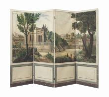 A PAINTED CANVAS FOUR-PANEL FLOOR SCREEN,