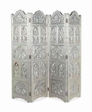 AN INDIAN WHITE METAL-VENEERED FOUR-PANEL FLOOR SCREEN,