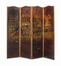 A DUTCH PAINTED LEATHER FOUR-PANEL FLOOR SCREEN,