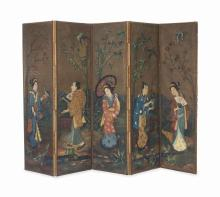 A CONTINENTAL PAINTED BURLAP AND SILK-BACKED FIVE-PANEL SCREEN,