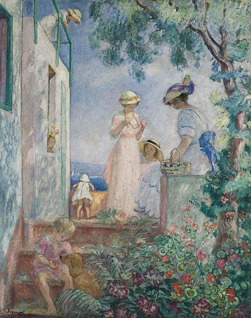 Jeunes filles sur une terrasse. Sainte-Maxime
