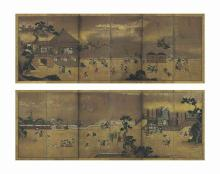 A Pair of Japanese Six-Fold Screens