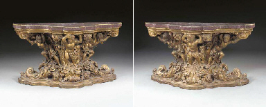 A PAIR OF NORTH ITALIAN BAROQUE ORMOLU-MOUNTED GILTWOOD AND EGYPTIAN PORPHYRY SIDE TABLES