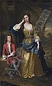 Portrait of Isabella, Duchess of Grafton ( c.  1688-1723) and her son Charles Fitzroy, later 2nd Duke of Grafton (1683-1757), full-length, a landscape beyond, Sir Godfrey Kneller, Click for value