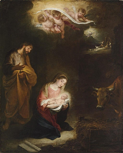 The Nativity with the Annunciation to the Shepherds beyond