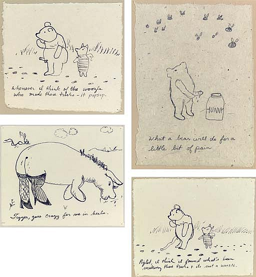 Untitled (What a bear will do...) graphite on paper mounted on board 10 x 7¼ in. (25.4 x 18.4 cm.) Drawn in 1998. Untitled (Whenever I think of...) ink on paper mounted on board 7¼ x 8 in. (18.4 x 20.3 cm.) Drawn in 1998. Untitled (Piglet, I