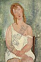 Jeune fille assise en chemise, Amedeo Modigliani, Click for value