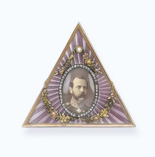 A RUSSIAN ANTIQUE ENAMEL PICTURE FRAME WITH A PHOTOGRAPH OF TSAR ALEXANDER II OF RUSSIA