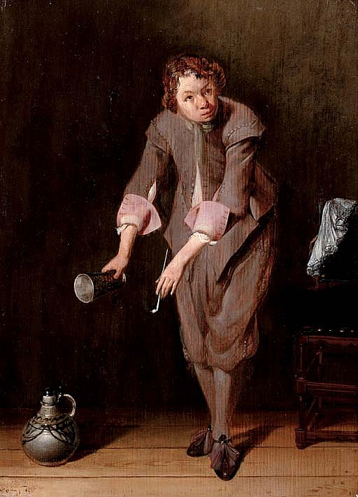 A youth holding a silver cup and a pipe