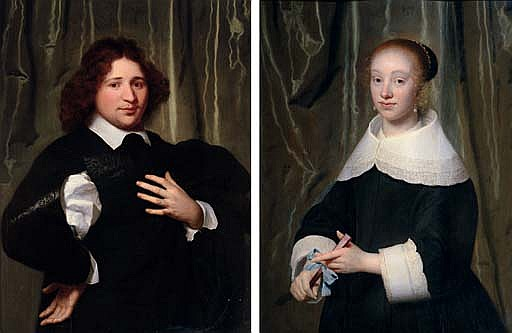 Portrait of Jan Hendrik Lestevenon, half-length in a black coat; and Portrait of Esther de Bary, half-length, holding a fan