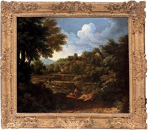 A wooded landscape with figures by a river