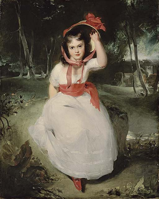 'The Woodland Maid': Portrait of Miss Emily de Visme (1787-1873), full-length, seated in a wooded landscape, in a white dress with a pink sash and a straw bonnet with red ribbons