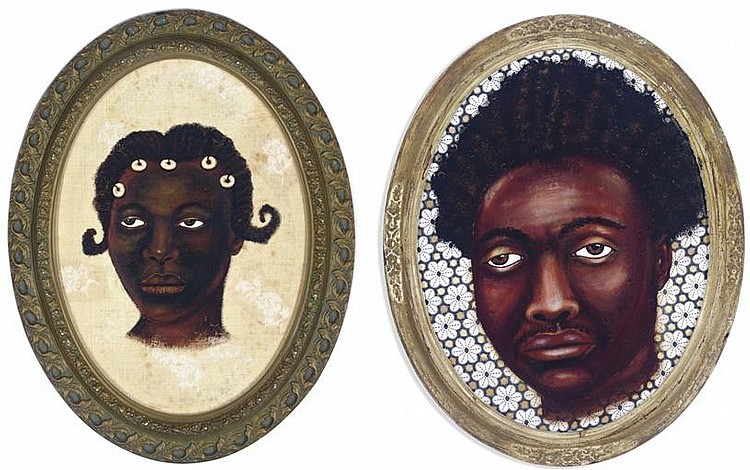 Things Fall Apart: Young Woman From Mali signed and dated 'Lezley Saar '99' (on the reverse) acrylic and fabric laid down on plywood in artist frame 24 x 18 in. (61 x 45.7 cm.) Executed in 1999. Things Fall Apart: Man with Nkrumah Haircut