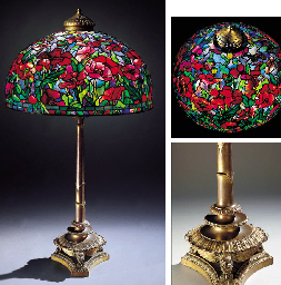 A 'POPPY' LEADED GLASS AND GILT-BRONZE FLOOR LAMP
