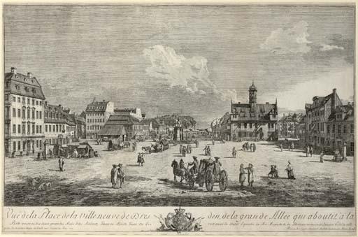 Vue de la Place de la Ville-neuve de Dresden, de la grande Allée qui aboutit à la Porte Noire et des deux grandes Rues dites Räbnitz- Gasse et Breite Gasse ò l'on voit aussi la Statue Equestre du Roi Auguste II de Glorieuse Memoire et l'ancien Hôtel