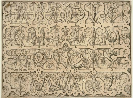AMMAN, Jost (1539-1591). Human Alphabet. Signed and dated