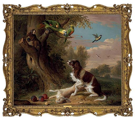 A spaniel with a dead hare in a landscape, with parrots and a monkey in a tree