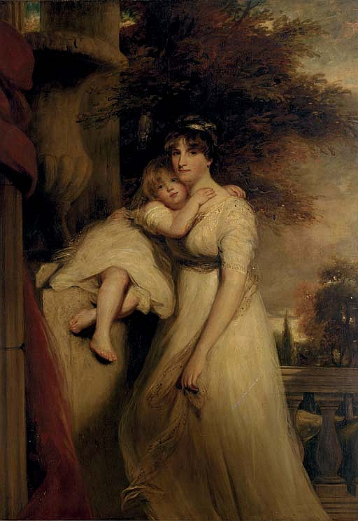 Portrait of Lady Mildmay, standing three-quarter-length, in a white dress, with her child, a landscape beyond