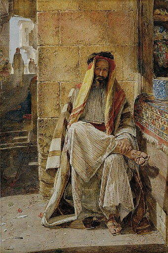 An Arabian Chief, seated in a Cairo Bazaar